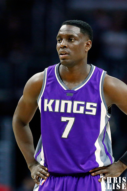 26 March 2016: Sacramento Kings guard Darren Collison (7) rests during the Sacramento Kings 98-97 victory over the Los Angeles Clippers, at the Staples Center, Los Angeles, California, USA.