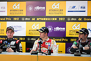 Callum ILOTT, SJM Theodore Racing by Prema, Dallara Mercedes, Joel ERIKSSON, Motopark with VEB, Dallara Volkswagen, Sérgio Sette CÂMARA, Motopark with VEB, Dallara Volkswagen<br /> <br /> 64th Macau Grand Prix. 15-19.11.2017.<br /> Suncity Group Formula 3 Macau Grand Prix - FIA F3 World Cup<br /> Macau Copyright Free Image for editorial use only