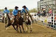 Pick up men Lynn Ashley and Kyle Shaw pick up Saddle Bronc rider Luke Wilson, Miles City Bucking Horse Sale, Montana, <br /> MODEL RELEASED on three riders