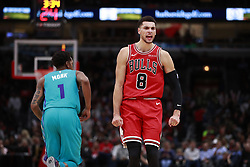 October 24, 2018 - Chicago, IL, USA - The Chicago Bulls' Zach LaVine (8) reacts after a basket by teammate Cameron Payne, not pictured, against the Charlotte Hornets during the second half at the United Center in Chicago on Wednesday, Oct. 24, 2018. The Bulls won, 112-110. (Credit Image: © Nuccio Dinuzzo/Chicago Tribune/TNS via ZUMA Wire)