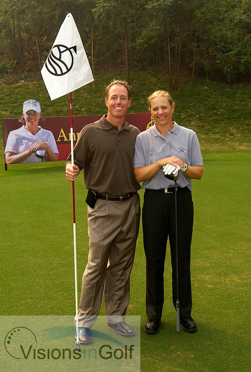 Annika Sorenstam with husband David Esch at Mission Hills Golf Club, China. November 2, 2003.<br />