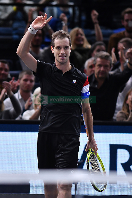 French's Richard Gasquet playing in a second round match at the BNP Paribas Tennis Masters Paris 2016, in AccorHotels Arena, Paris, France, on November 1, 2016. Photo by Laurent Zabulon /ABACAPRESS.COM