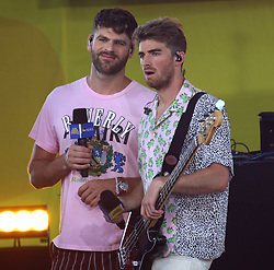 August 10, 2018 - New York City, New York, U.S. - (L) ALEX PALL and (R) ANDREW TAGGART from 'The Chainsmokers' performs on 'Good Morning America' held in Central Park. (Credit Image: © Nancy Kaszerman via ZUMA Wire)