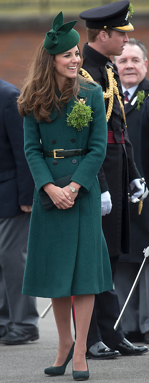 The Duke and Duchess of Cambridge at the Irish Guards' St.Patrick's Day Parade in Aldershot, United Kingdom. Monday, 17th March 2014. Picture by i-Images