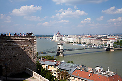View of the Danube River and the Pest side of Budapest from the royal palace on Buda Hill, with the Hungarian Parliament building dominating the background and the famous Chain Bridge in the foreground, right.