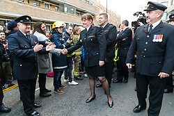 © Licensed to London News Pictures. 23/12/2019. London, UK. London Fire Commissioner (LFC), Dany Cotton is greeted by members and family of the Fire Brigade on her final day in office. Hundreds of firefighters lined Union Street in London today to provide a Guard of Honour on the final day in office for London Fire Commissioner, Danny Cotton. Photo credit: Vickie Flores/LNP