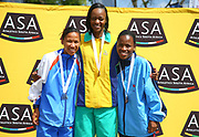 NELSPRUIT, SOUTH AFRICA - NOVEMBER 04: Nolene Conrad (WP), Kesa Molotsane (Free State) and Glenrose Xaba (AGN) on the podium for the women's race during the ASA 10km Championships on Saturday November 04, 2017 in Nelspruit, South Africa. <br /> (Photo by Roger Sedres/ImageSA/Gallo Images)