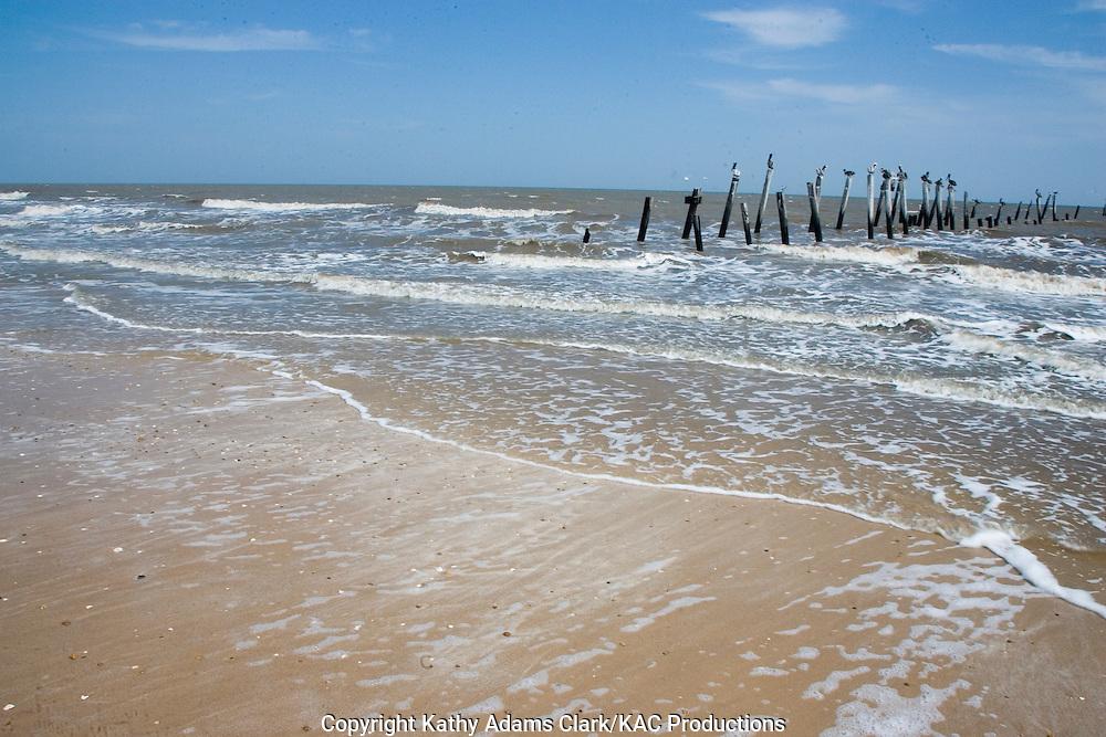 Beach, shoreline, Gulf Coast, waves, Gilcrest Beach, Texas.