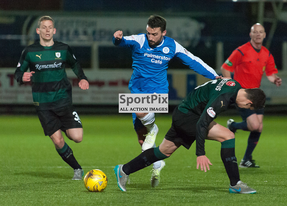 #8 Mark Millar (Queen of the South) hurdles a challenge by #6 Kyle Benedictus (Raith Rovers)<br /> <br /> Queen of the South v Raith Rovers &bull; SPFL Championship &bull; 11 December 2015<br /> <br /> &copy; Russel Hutcheson | SportPix.org.uk
