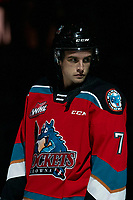 KELOWNA, BC - SEPTEMBER 28:  Carson Sass #7 of the Kelowna Rockets lines up against the Everett Silvertips at Prospera Place on September 28, 2019 in Kelowna, Canada. (Photo by Marissa Baecker/Shoot the Breeze)