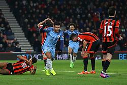 Goal, Sergio Aguero of Manchester City scores, Bournemouth 0-2 Manchester City - Mandatory by-line: Jason Brown/JMP - 13/02/2017 - FOOTBALL - Vitality Stadium - Bournemouth, England - Bournemouth v Manchester City - Premier League