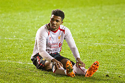 BLACKPOOL, ENGLAND - Wednesday, December 18, 2013: Liverpool's Jerome Sinclair looks dejected after missing a chance against Blackpool during the FA Youth Cup 3rd Round match at Bloomfield Road. (Pic by David Rawcliffe/Propaganda)