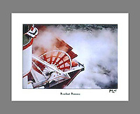 Signed and numbered 19x24 poster of the paddlewheel of the Belle of Louisville steamboat during the Tall Stacks festival in Cincinnati