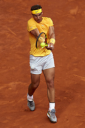 May 9, 2018 - Madrid, Madrid, Spain - Rafael Nadal of Spain in action during his match against Gael Monfils of France during day five of the Mutua Madrid Open tennis tournament at the Caja Magica on May 9, 2018 in Madrid, Spain  (Credit Image: © David Aliaga/NurPhoto via ZUMA Press)