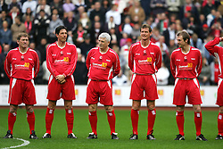 LIVERPOOL, ENGLAND - SUNDAY MARCH 27th 2005: Liverpool Legends players line-up before the Tsunami Soccer Aid match at Anfield. L-R: Kenny Dalglish, Gary Ablett, David Johnson, Gary Gillespie, Paul Dalglish. (Pic by David Rawcliffe/Propaganda)