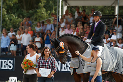 Helgstrand Andreas, DEN, Revolution<br /> with the breeders Yasemin and Sarah Yanik<br /> World ChampionshipsYoung Dressage Horses<br /> Ermelo 2018<br /> © Hippo Foto - Dirk Caremans<br /> 04/08/2018