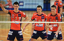 Alen Sket, Matija Plesko and Alen Pajenk at last final volleyball match of 1.DOL Radenska Classic between OK ACH Volley and Salonit Anhovo, on April 21, 2009, in Arena SGS Radovljica, Slovenia. ACH Volley won the match 3:0 and became Slovenian Champion. (Photo by Vid Ponikvar / Sportida)