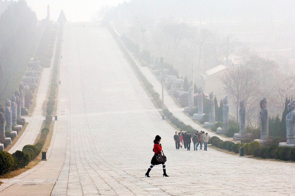 Qianling Mausoleum, Shaanxi Province, China. Statue lined spirit path leading from tomb of Tang Dynasty emperor Li Zhi. Winter