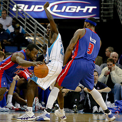 Dec 16, 2009; New Orleans, LA, USA;  Detroit Pistons guard Chucky Atkins (17) drives past New Orleans Hornets guard Darren Collison (2) during the first half at the New Orleans Arena. Mandatory Credit: Derick E. Hingle-US PRESSWIRE