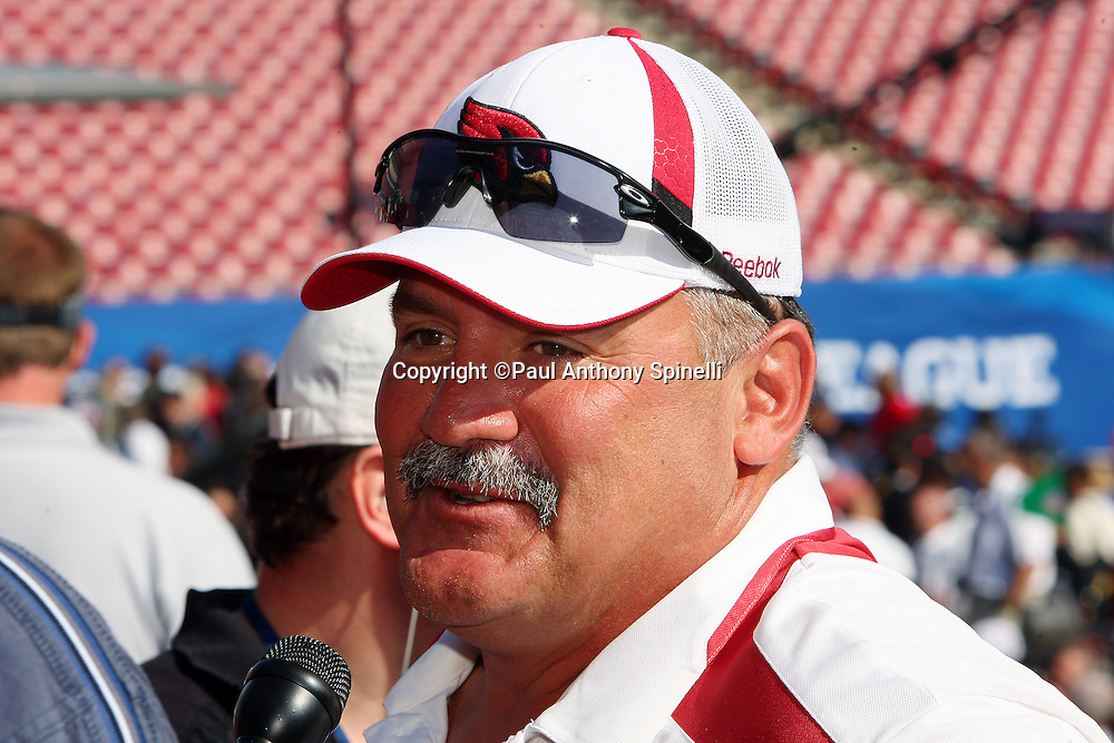 TAMPA, FL - JANUARY 27: Assistant Head Coach/Offensive Line Coach Russ Grimm of the NFC Arizona Cardinals speaks to the media during Super Bowl XLIII Media Day at Raymond James Stadium on January 27, 2009 in Tampa, Florida. ©Paul Anthony Spinelli *** Local Caption *** Russ Grimm
