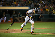 San Francisco Giants left fielder Gorkys Hernandez (66) runs out a pop up against the Oakland Athletics at Oakland Coliseum in Oakland, California, on August 1, 2017. (Stan Olszewski/Special to S.F. Examiner)