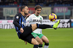 January 19, 2019 - Milan, Milan, Italy - Danilo D'Ambrosio #33 of FC Internazionale Milano competes for the ball with  Filip Djuricic #9 of US Sassuolo during the serie A match between FC Internazionale and US Sassuolo at Stadio Giuseppe Meazza on January 19, 2019 in Milan, Italy. (Credit Image: © Giuseppe Cottini/NurPhoto via ZUMA Press)