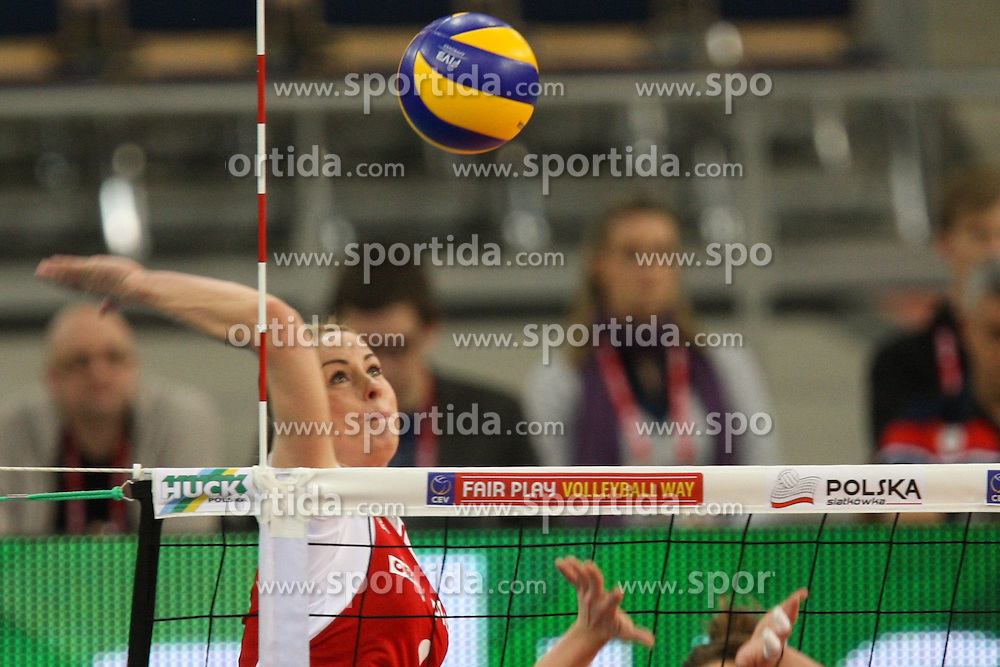 04.01.2014, Atlas Arena, Lotz, POL, FIVB, Damen WM Qualifikation, Polen vs Spanien, im Bild Eleonora DZIEKIEWICZ (POL) // Eleonora DZIEKIEWICZ (POL) during the ladies FIVB World Championship qualifying match between Poland and Spain at the Atlas Arena in Lotz, Poland on 2014/01/04. EXPA Pictures &copy; 2014, PhotoCredit: EXPA/ Newspix/ Tomasz Jastrzebowski<br /> <br /> *****ATTENTION - for AUT, SLO, CRO, SRB, BIH, MAZ, TUR, SUI, SWE only*****