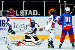 Roman Handl with a save at IIHF In-Line Hockey World Championships Quarter final match between national teams of Czech Republic and Slovenia on July 1, 2010, in Karlstad, Sweden. (Photo by Matic Klansek Velej / Sportida)