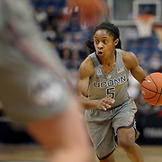HARTFORD, CONNECTICUT- JANUARY 4: Crystal Dangerfield #5 of the Connecticut Huskies in action during the UConn Huskies Vs East Carolina Pirates, NCAA Women's Basketball game on January 4th, 2017 at the XL Center, Hartford, Connecticut. (Photo by Tim Clayton/Corbis via Getty Images)