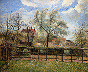 Pear Trees in Blossom at Eragny, Morning'.  Camille Pissarro (1830-1872) Fench artist. Oil on Canvas.