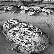 Defined Egg At Dusk - Bisti Badlands - New Mexico - Black & White