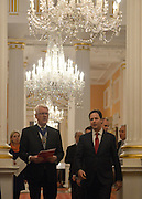© Licensed to London News Pictures. 18/02/2013. City of London, UK Deputy Prime Minister Nick Clegg (right) walks with David Lewis, ex Lord Mayor of London to give a speech at Mansion House on decentralisation. It is the inaugural speech of the annual slot, reserved for the Deputy Prime Minister, to reflect the realities of Coalition. Photo credit : Stephen Simpson/LNP