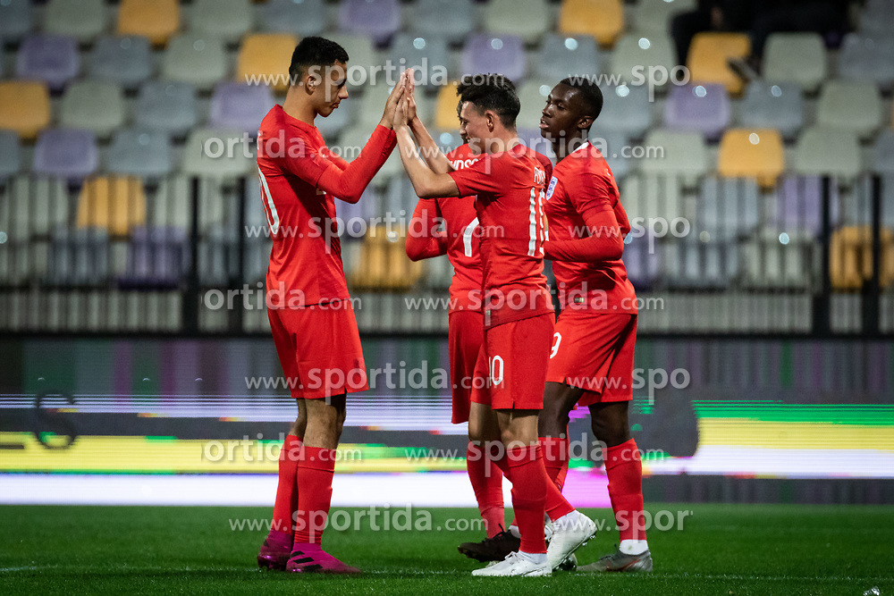 Players of England celebrating their first goal during friendly Football match between U21 national teams of Slovenia and England, on October 11, 2019 in Ljudski Vrt, Maribor, Slovenia. Photo by Blaž Weindorfer / Sportida