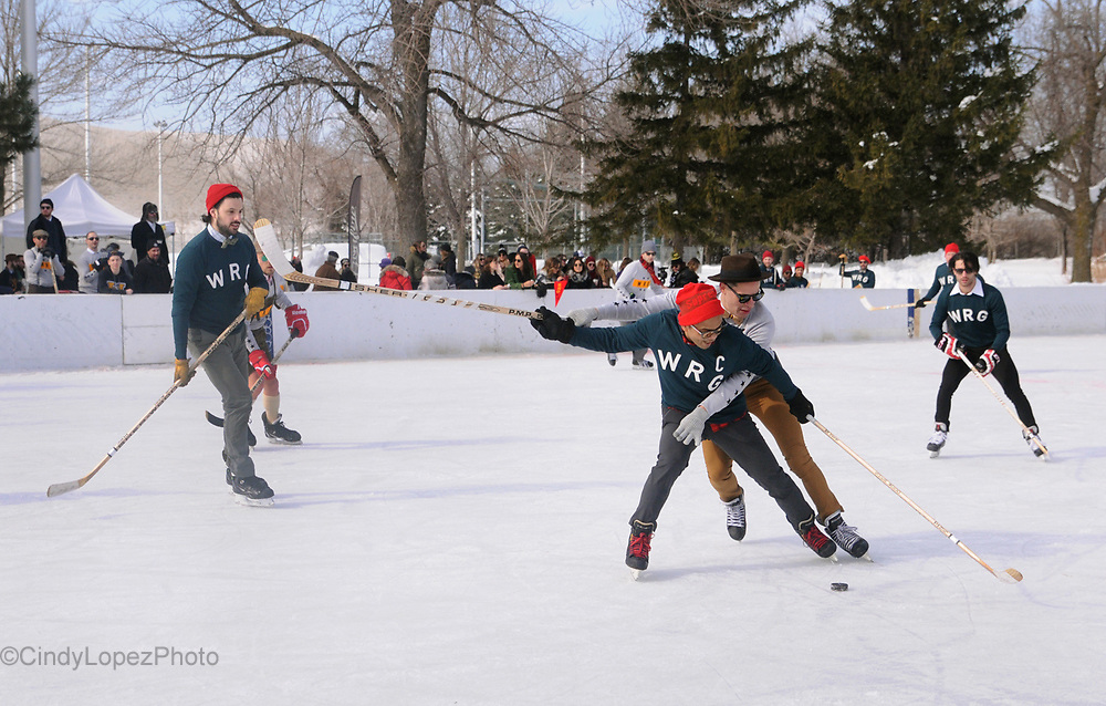 The 4th Edition of the WRG Gentlemen's Hockey Classic played at Ignace-Bourget park in Ville Emard. Montreal celebrities and entrepreneurs played in bow ties, fitted sweaters and wooden sticks in a stylish outdoor hockey game. February 2017. (Cult MTL)