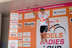 Stage winner, Kasia Niewiadoma (Rabo Liv) greets the crowds at the 123 km Stage 3 of the Boels Ladies Tour 2016 on 1st September 2016 in Sittard Geleen, Netherlands. (Photo by Sean Robinson/Velofocus).