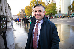 © Licensed to London News Pictures. 04/11/2019. London, UK. Shadow Secretary of State for Health Jonathan Ashworth arrives at the Houses of Parliament this morning. Photo credit : Tom Nicholson/LNP