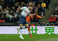 Football - 2018 / 2019 Premier League - Tottenham Hotspur vs. Manchester City<br /> <br /> Ben Davies (Tottenham FC) gets across before Riyad Mahrez (Manchester City) connects with the ball at Wembley Stadium.<br /> <br /> COLORSPORT/DANIEL BEARHAM