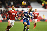 Queens Park Rangers defender Jake Bidwell (3) heads the ball out during the EFL Sky Bet Championship match between Nottingham Forest and Queens Park Rangers at the City Ground, Nottingham, England on 4 November 2017. Photo by Jon Hobley.