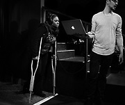 Nekita Waller prepares for her first show in front of an audience on crutches since breaking her ankle a month earlier.