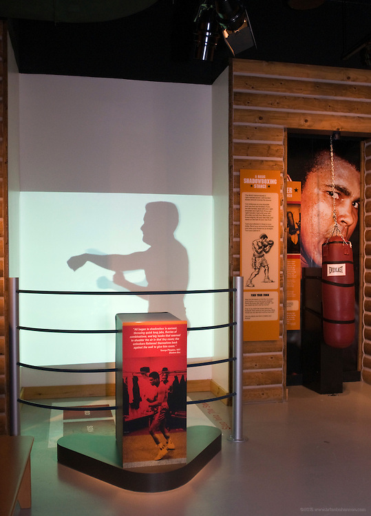 The Train with Ali exhibit allows visitors an opportunity to shadowbox, punch a speed bag and lean into a heavy bag that lets them feel the power of an Ali punch, Thursday, Jan. 11, 2012 at the Muhammad Ali Center in Louisville, Ky. (AP Photo/Brian Bohannon)