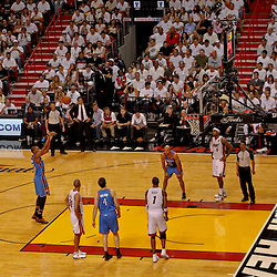 Jun 19, 2012; Miami, FL, USA; Oklahoma City Thunder small forward Kevin Durant (35) shoots a free throw during the third quarter in game four in the 2012 NBA Finals against the Miami Heat at the American Airlines Arena. Mandatory Credit: Derick E. Hingle-US PRESSWIRE
