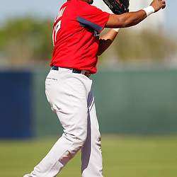 February 19, 2011; Fort Myers, FL, USA; Boston Red Sox third baseman Hector Luna (17) during spring training at the Player Development Complex.  Mandatory Credit: Derick E. Hingle
