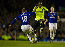 LIVERPOOL, ENGLAND - Thursday, April 17, 2008: Everton's Phil Neville and Chelsea's Michael Essien during the Premiership match at Goodison Park. (Photo by David Rawcliffe/Propaganda)