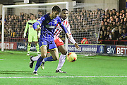 George Francomb of AFC Wimbledon in action during the Sky Bet League 2 match between AFC Wimbledon and Stevenage at the Cherry Red Records Stadium, Kingston, England on 12 December 2015. Photo by Stuart Butcher.