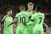 Manchester City celebrate Manchester City forward Sergio Aguero penalty  during the Capital One Cup match between Sunderland and Manchester City at the Stadium Of Light, Sunderland, England on 22 September 2015. Photo by Simon Davies.