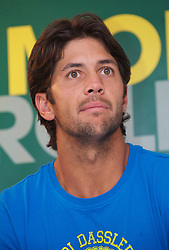 MONTE-CARLO, MONACO - Sunday, April 18, 2010: Fernando Verdasco (ESP) during a press conference following his 6-0, 6-1 Men's Singles Final defeat on day seven of the ATP Masters Series Monte-Carlo at the Monte-Carlo Country Club. (Photo by David Rawcliffe/Propaganda)