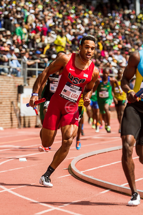 Penn Relays, USA vs the World, mens 4x400 relay, Clayton Parros, USA
