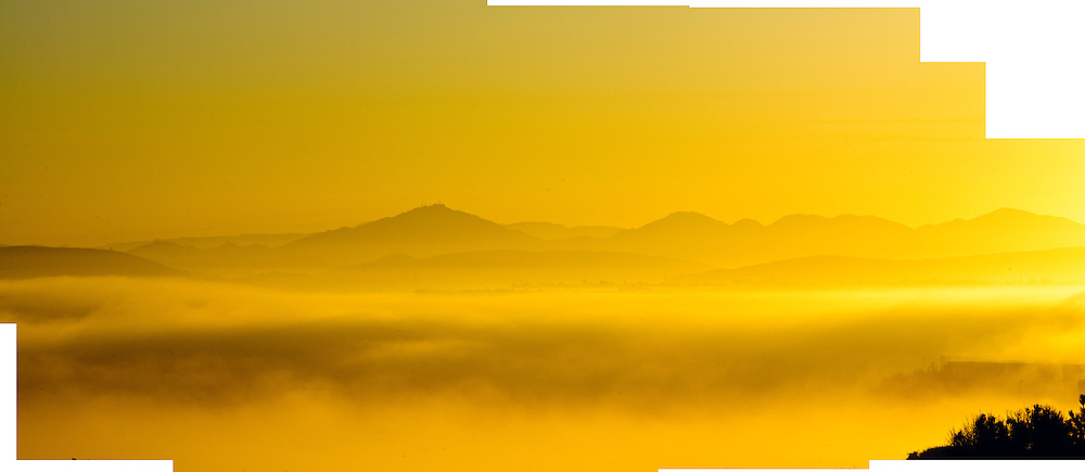 San Diego, California, at sunrise, fog in Valleys