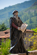 Statue of apostle on Pilgrim's Way at Potes in Picos de Europa, Asturias, Northern Spain