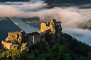 Aggstein, Danube, Lower Austria, September 2015. Sitting on a steep cliff on the right bank of the Danube, the castle ruins of Aggstein was the base of the Kuenring family, who ruled here. Austria's most spectacular section of the Danube is the dramatic stretch of river between Krems an der Donau and Melk, known as the Wachau. Here the landscape is characterised by vineyards, forested slopes, wine-producing villages and imposing fortresses at nearly every bend. The Wachau is today a Unesco World Heritage site, due to its harmonious blend of natural and cultural beauty. Photo by Frits Meyst / MeystPhoto.com